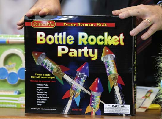 """<div class=""""meta image-caption""""><div class=""""origin-logo origin-image ap""""><span>AP</span></div><span class=""""caption-text"""">""""Bottle Rocket Party"""", which made the annual list of worst toys, at Franciscan Hospital for Children in Boston, Wednesday, Nov. 19, 2014. ((AP Photo/Charles Krupa))</span></div>"""