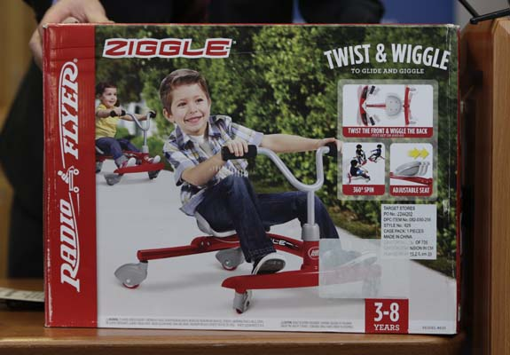 """<div class=""""meta image-caption""""><div class=""""origin-logo origin-image ap""""><span>AP</span></div><span class=""""caption-text"""">Radio Flyer """"Ziggle"""", which made the annual list of worst toys, at Franciscan Hospital for Children in Boston, Wednesday, Nov. 19, 2014. ((AP Photo/Charles Krupa))</span></div>"""