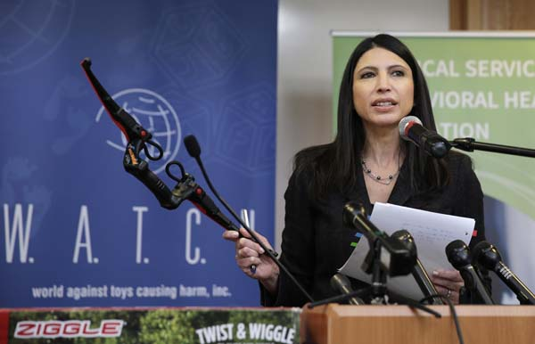 <div class='meta'><div class='origin-logo' data-origin='AP'></div><span class='caption-text' data-credit='(AP Photo/Charles Krupa)'>Joan Siff, president of World Against Toys Causing Harm Inc., holds up toy bow at Children's Franciscan Hospital in Boston, Wednesday, Nov. 19, 2014.</span></div>