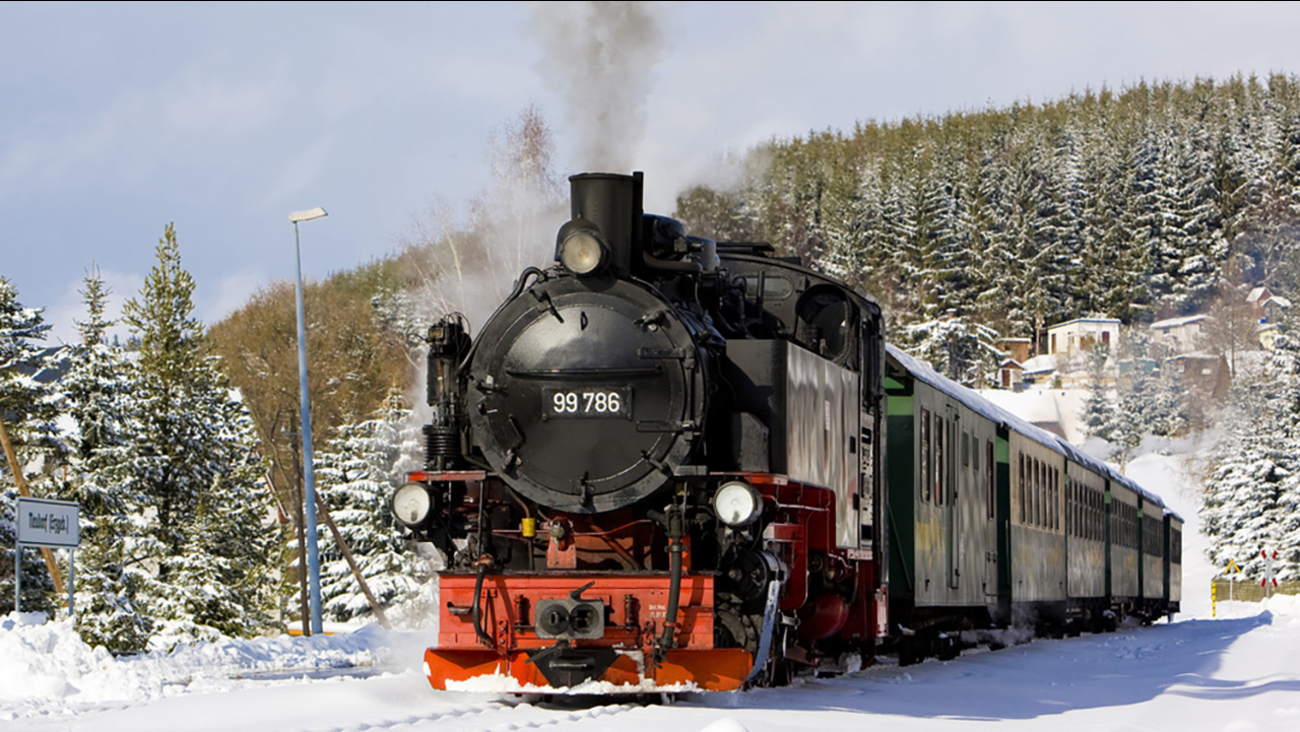 Stock photo of a train in the snow