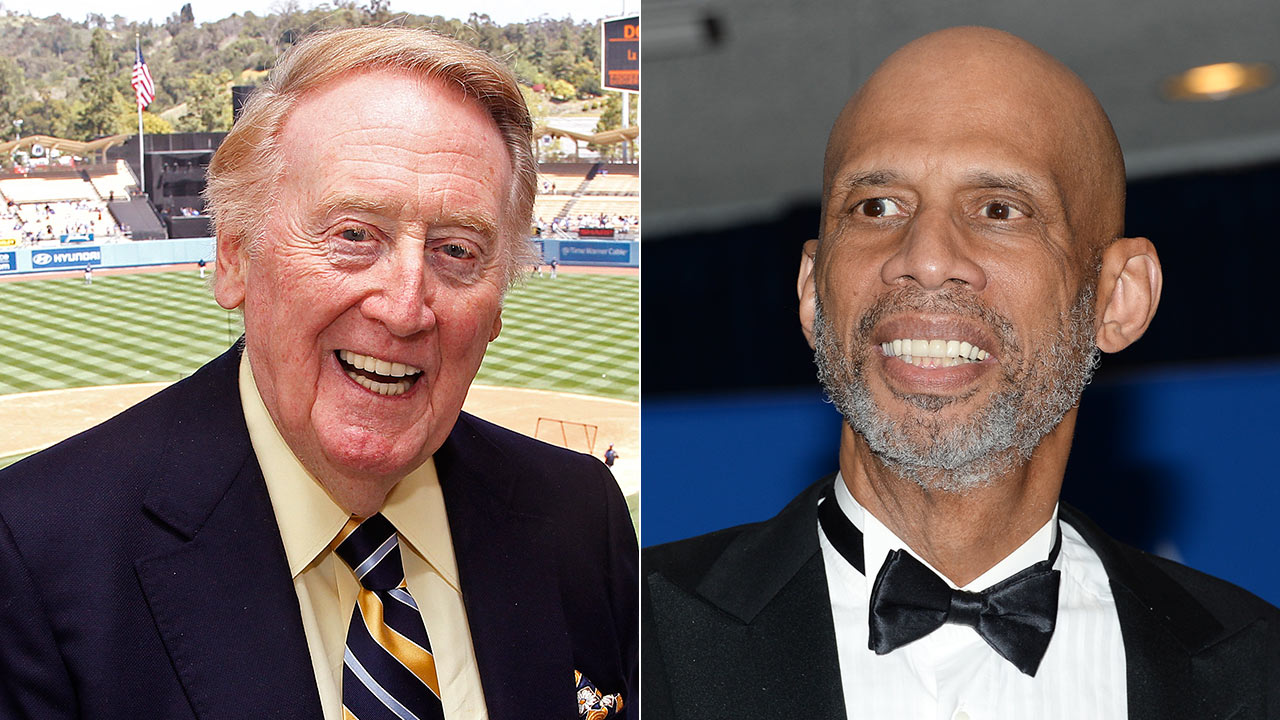 (L) Vin Scully poses in the press box on April 15, 2012. (R) Kareem Abdul-Jabbar at the White House Correspondents' Association Dinner on May 3, 2014, in Washington.