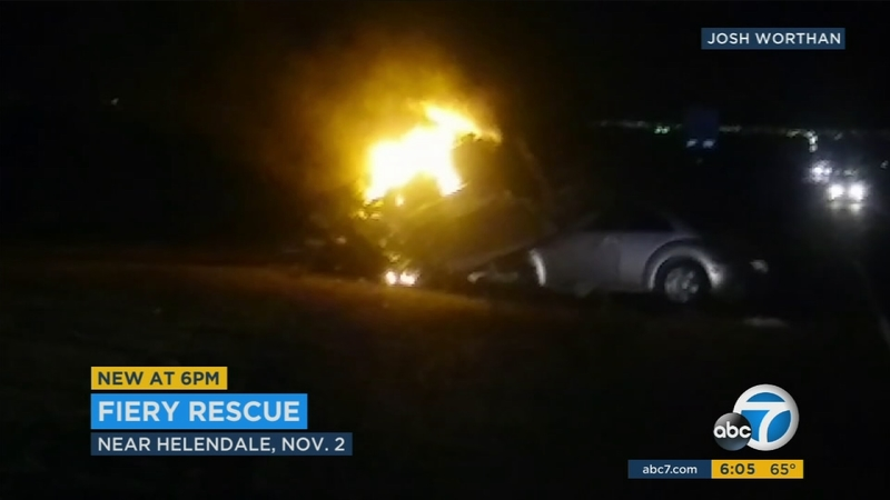 Man rescued from fiery crash on Highway 395 near Helendale