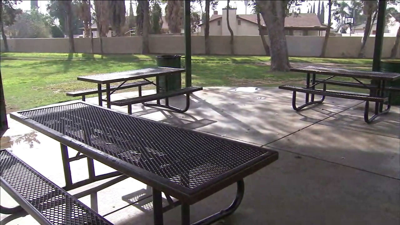 A shot of where two men were playing cards in a Fontana park is shown on Wednesday, Nov. 16, 2016.