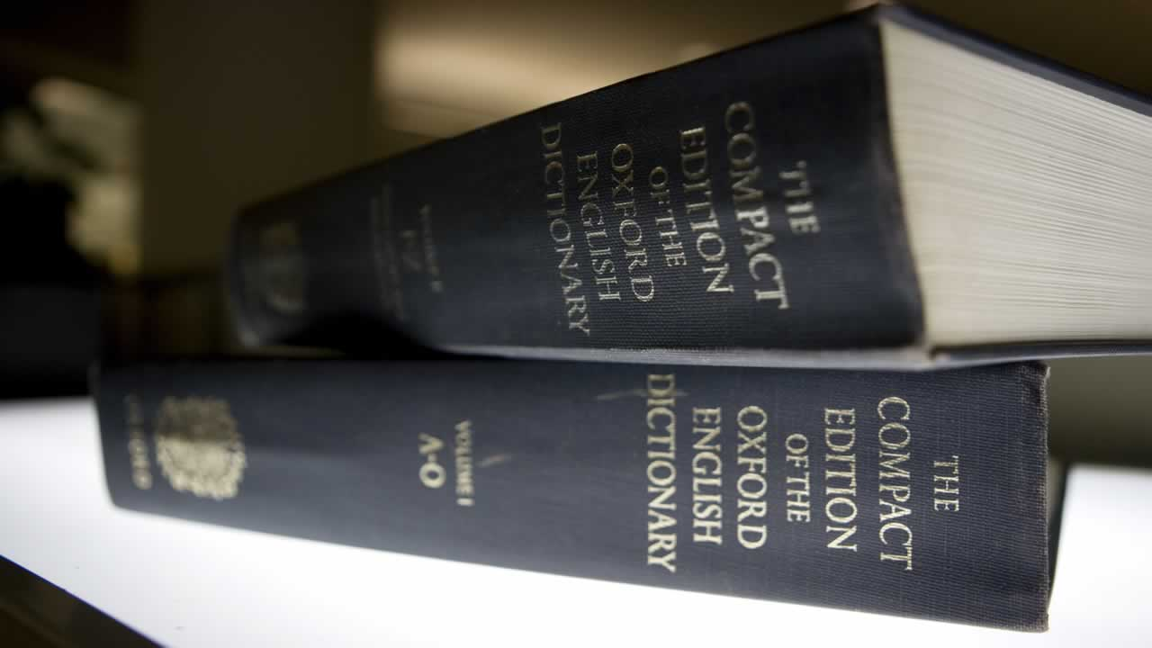 Oxford English Dictionary is shown at the headquarters of the Associated Press in New York.