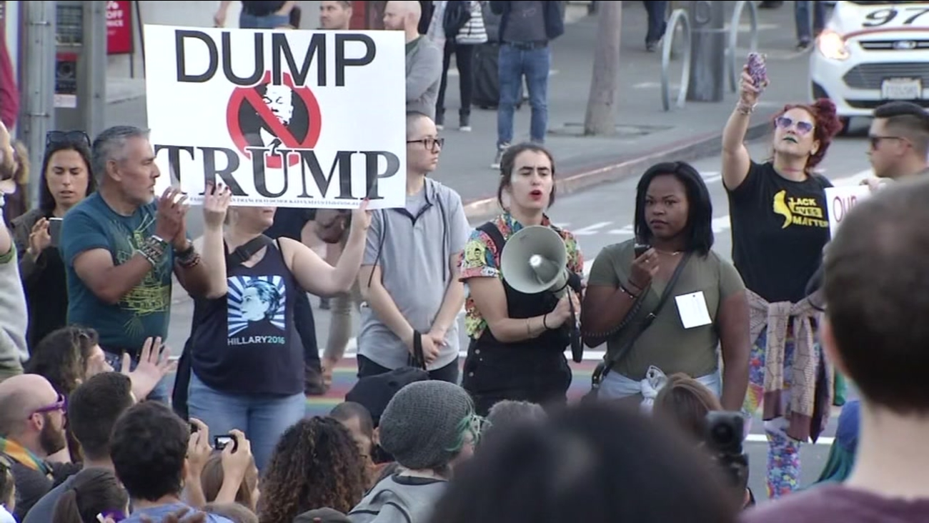 This undated image shows anti-Trump protesters marching through the streets of San Francisco.