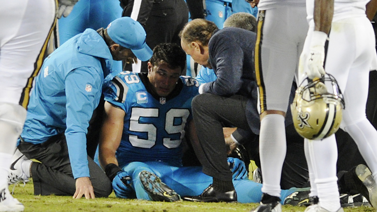 Luke Kuechly is visibly shaken after taking a shot during a tackle Thursday night against the Saints.