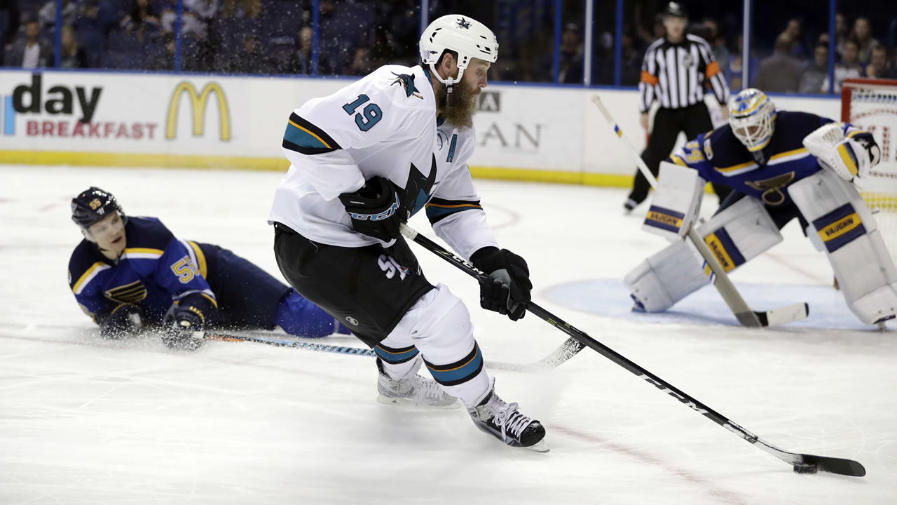 San Jose Sharks' Joe Thornton (19) controls the puck during the third period of an NHL hockey game against the St. Louis Blues Thursday, Nov. 17, 2016, in St. Louis.