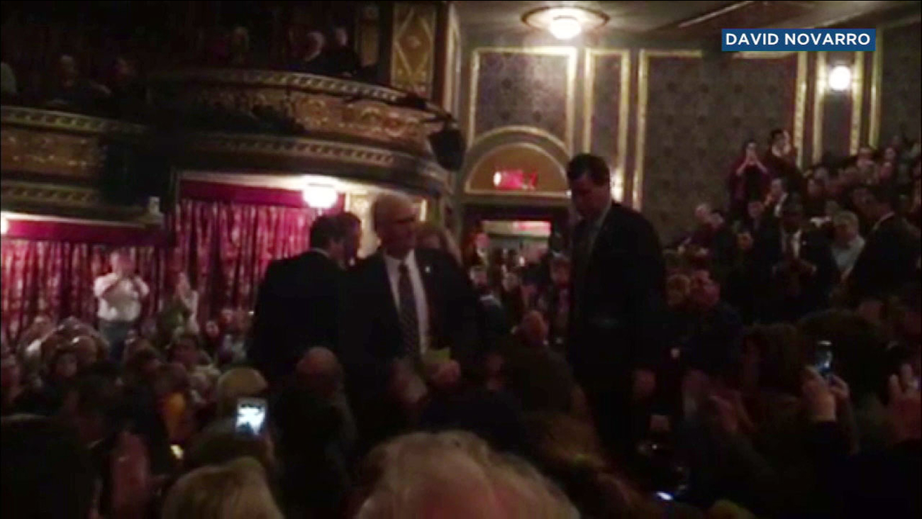"""Vice President-elect Mike Pence attended a performance of """"Hamilton"""" on Broadway."""