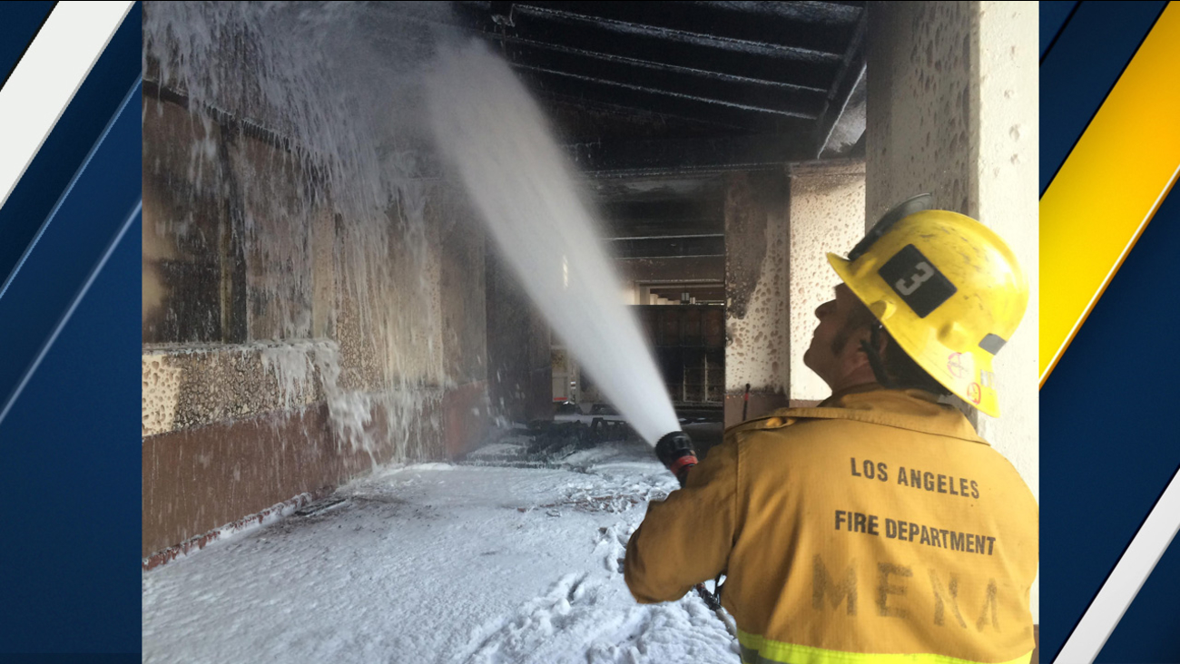 Los Angeles firefighters responded to a fire that originated in a dumpster at Union Station in downtown on Saturday, Nov. 19, 2016.