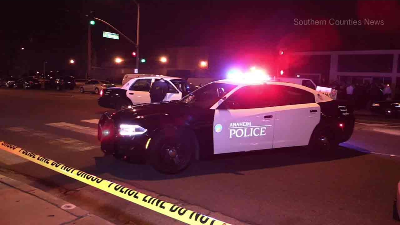 Anaheim Police Department patrol cars at the scene of an officer-involved shooting in Anaheim on Saturday, Nov. 19, 2016.