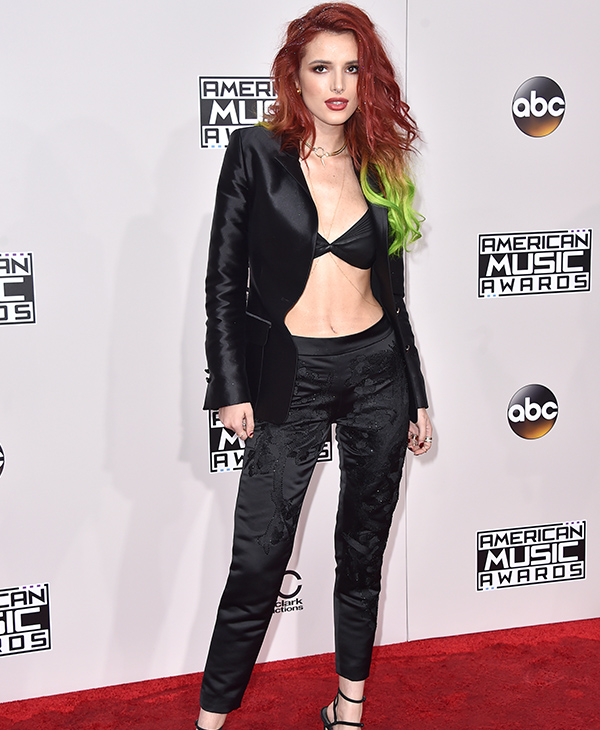 "<div class=""meta image-caption""><div class=""origin-logo origin-image none""><span>none</span></div><span class=""caption-text"">Bella Thorne arrives at the American Music Awards at the Microsoft Theater on Sunday, Nov. 20, 2016, in Los Angeles. (Jordan Strauss/Invision/AP)</span></div>"