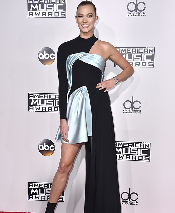 "<div class=""meta image-caption""><div class=""origin-logo origin-image none""><span>none</span></div><span class=""caption-text"">Karlie Kloss arrives at the American Music Awards at the Microsoft Theater on Sunday, Nov. 20, 2016, in Los Angeles. (Jordan Strauss/Invision/AP)</span></div>"