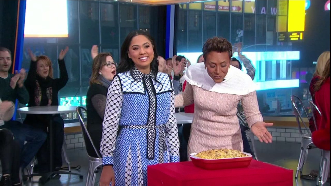"""Ayesha Curry cooked up Thanksgiving side dished on """"Good Morning America,"""" Monday, Nov. 21, 2016."""