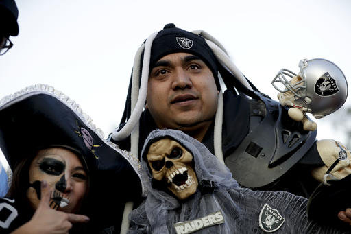 """<div class=""""meta image-caption""""><div class=""""origin-logo origin-image ap""""><span>AP</span></div><span class=""""caption-text"""">Oakland Raiders fans arrive at Azteca Stadium before an NFL football game against the Houston Texans Monday, Nov. 21, 2016, in Mexico City. (AP Photo/Rebecca Blackwell)</span></div>"""