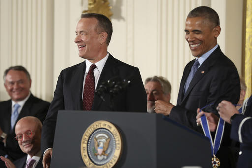 "<div class=""meta image-caption""><div class=""origin-logo origin-image ap""><span>AP</span></div><span class=""caption-text"">President Barack Obama presents the Presidential Medal of Freedom to actor Tom Hanks Tuesday, Nov. 22, 2016, in Washington.  (AP Photo/Manuel Balce Ceneta) (AP)</span></div>"