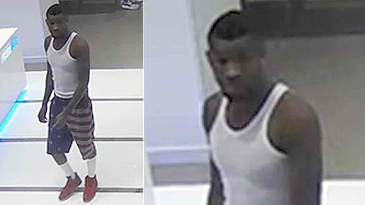 Surveillance photos captures a man accused of attacking a 90-year-old at a Culver City mall on Wednesday, Nov. 16, 2016.