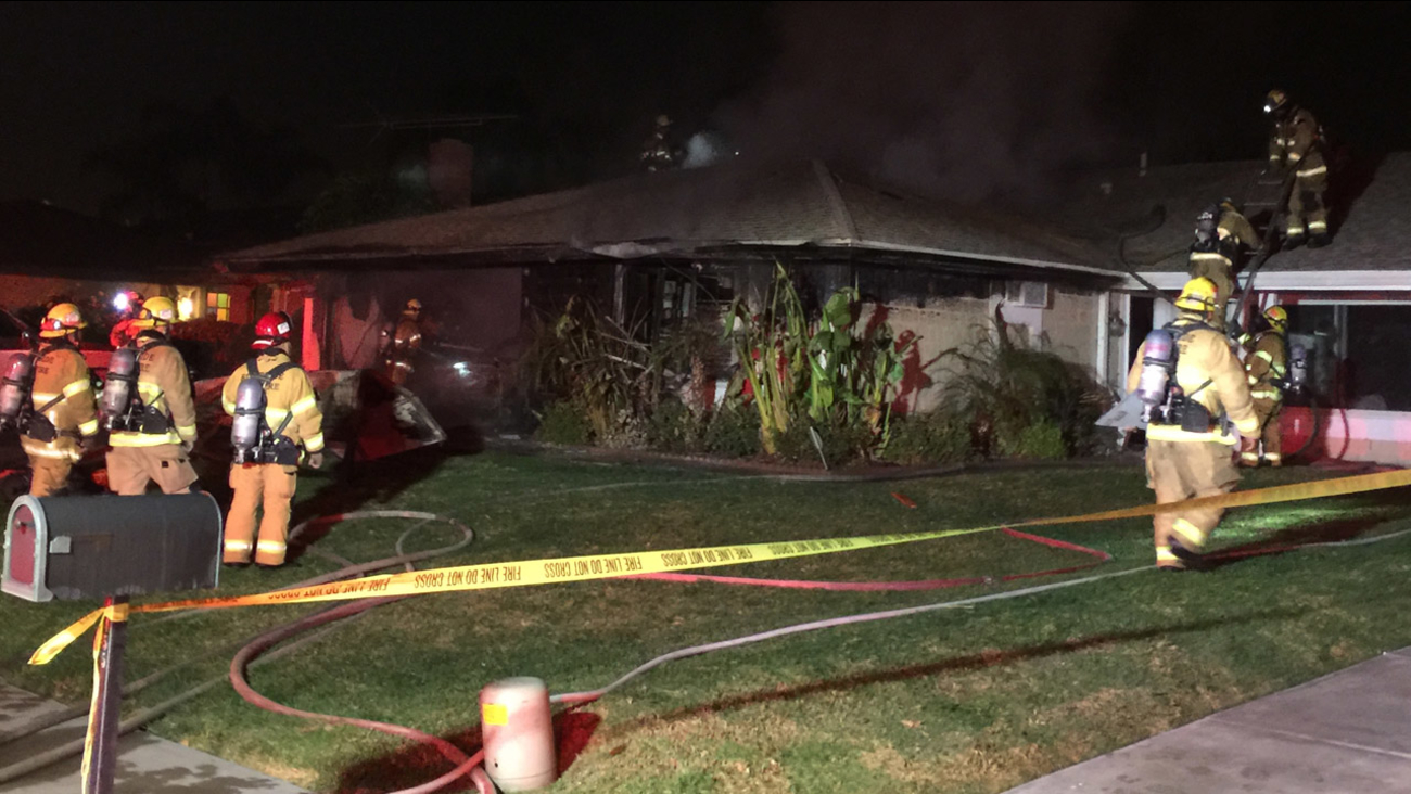 Firefighters responded to a fire at a Riverside home in the early morning hours of Monday, Nov. 21, 2016.