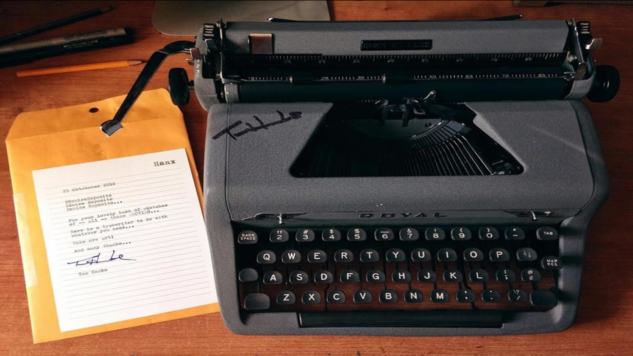 This is an undated image of Tom Hanks' typewriter, given as a gift to Denise Esposito.