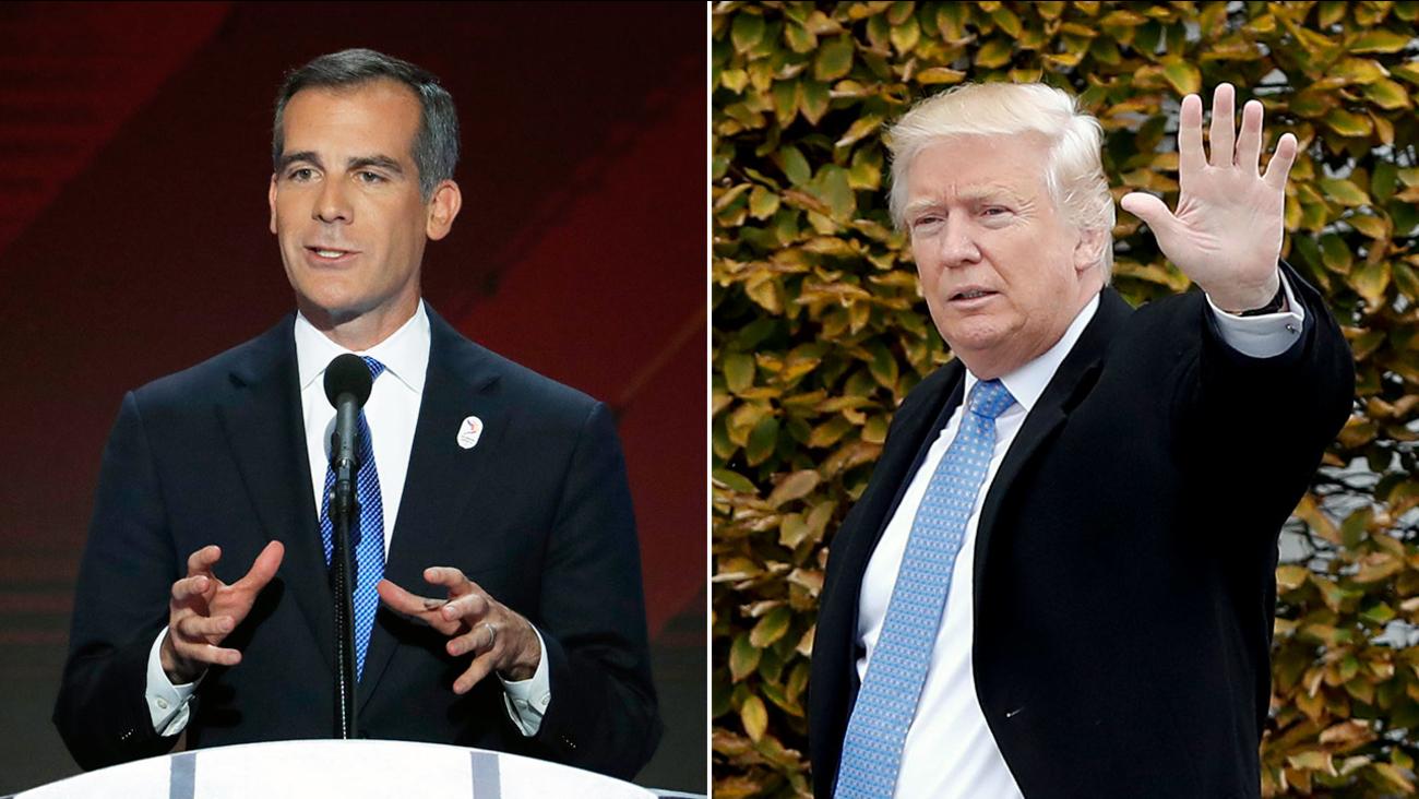 Los Angeles Mayor Eric Garcetti (left) and President-elect Donald Trump (right).