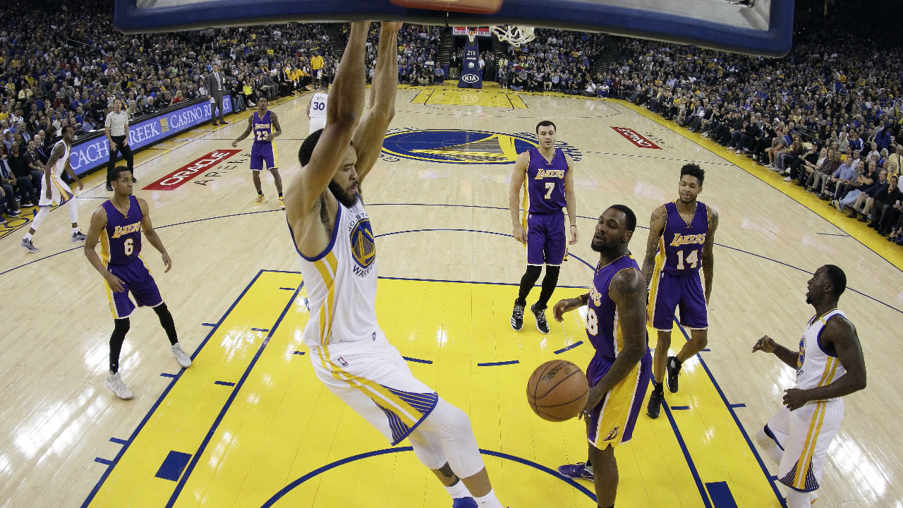 Golden State Warriors' JaVale McGee, center, dunks against the Los Angeles Lakers during the first half of an NBA basketball game Wednesday, Nov. 23, 2016, in Oakland, Calif.