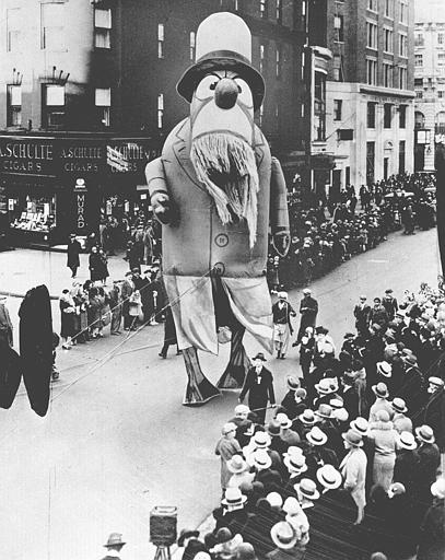 <div class='meta'><div class='origin-logo' data-origin='AP'></div><span class='caption-text' data-credit=''>A large outdoor float of Captain Nemo makes its way down the street during the Macy's Thanksgiving Day parade in New York City on Nov. 28, 1929.</span></div>