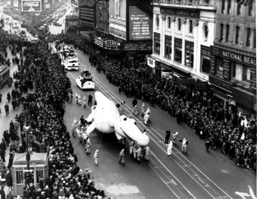 "<div class=""meta image-caption""><div class=""origin-logo origin-image ap""><span>AP</span></div><span class=""caption-text"">The Macy's Thanksgiving Day Parade  makes its way down Broadway in New York City on Nov. 30, 1933.</span></div>"