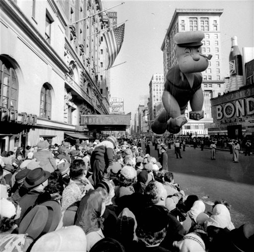"<div class=""meta image-caption""><div class=""origin-logo origin-image ap""><span>AP</span></div><span class=""caption-text"">A helium-filled Popeye balloon participates in the 33rd Macy's Thanksgiving Day Parade in Times Square, New York, on Nov. 26, 1959.</span></div>"