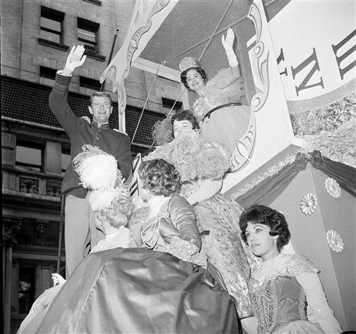 "<div class=""meta image-caption""><div class=""origin-logo origin-image ap""><span>AP</span></div><span class=""caption-text"">Diane Lynn Cox, 17, top right, recently named Miss Teenage America, waves from her float as she takes part in the annual Macy's Thanksgiving Day Parade in New York, Nov. 23, 1961.</span></div>"