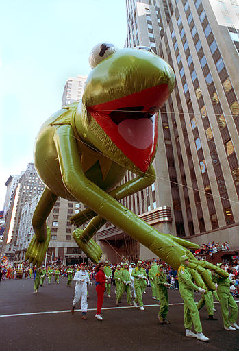 <div class='meta'><div class='origin-logo' data-origin='AP'></div><span class='caption-text' data-credit=''>Kermit the Frog floats down Broadway in the 64th annual Macy's Thanksgiving Day Parade in New York City, Thursday, Nov. 22, 1990.</span></div>