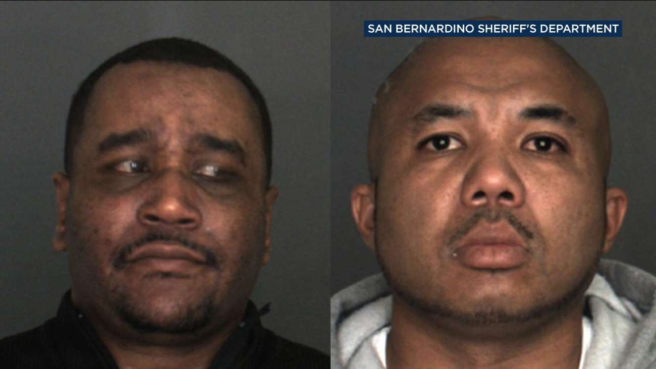Daniel Mitchell, left, 39, of Chino Hills, and Brandon Gaynor, right, 39, of Rancho Cucamonga, are seen in booking photos from the San Bernardino County Sheriff's Department.
