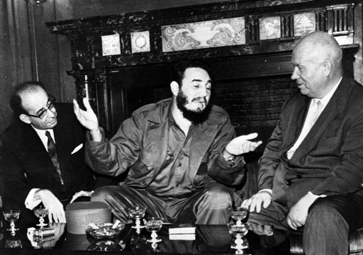 "<div class=""meta image-caption""><div class=""origin-logo origin-image none""><span>none</span></div><span class=""caption-text"">In this Sept. 20, 1960 photo, Cuba's leader Fidel Castro, center, speaks with Soviet Premier Nikita Khrushchev at the United Nations (AP Photo/Prensa Latina)</span></div>"