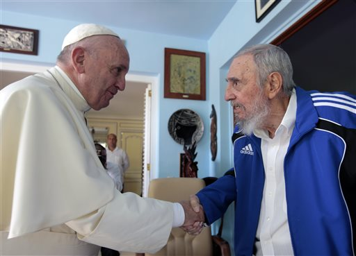 "<div class=""meta image-caption""><div class=""origin-logo origin-image none""><span>none</span></div><span class=""caption-text"">Pope Francis and Cuba's Fidel Castro shake hands, in Havana, Cuba, Sunday, Sept. 20, 2015. (AP Photo/Alex Castro)</span></div>"