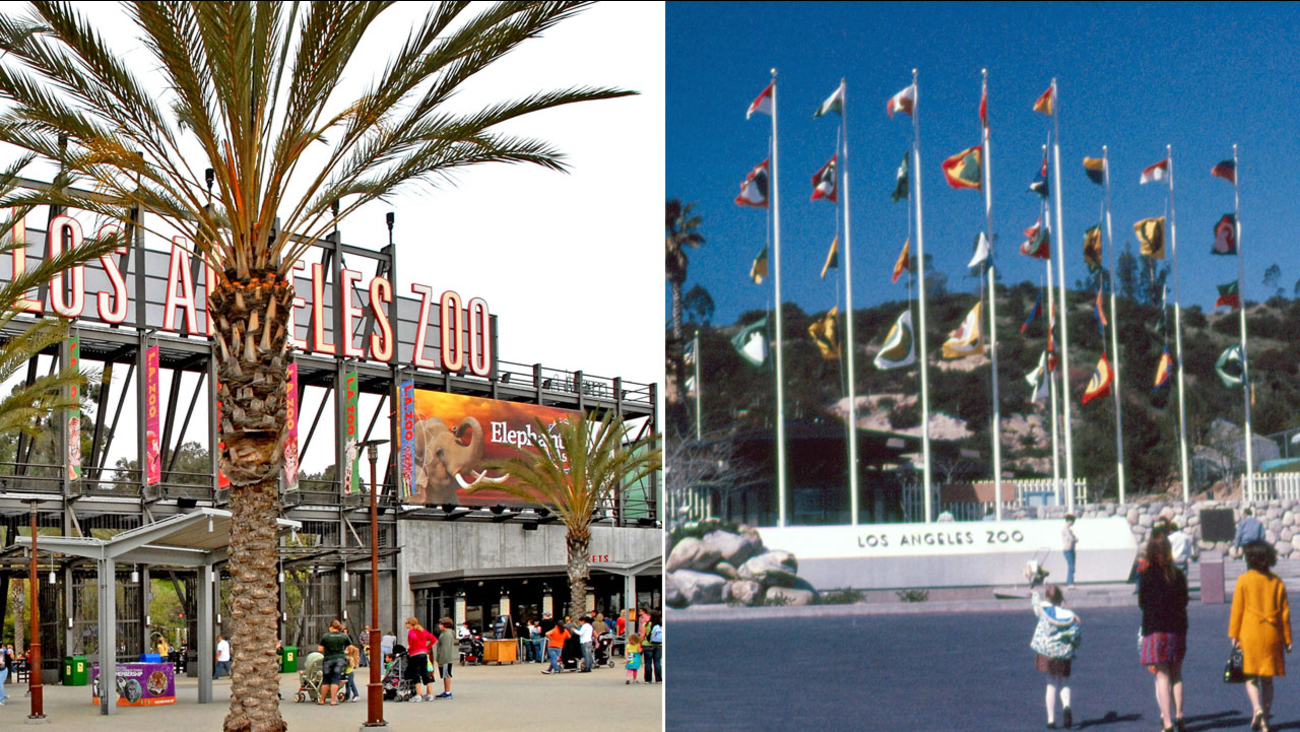 Photos of the Los Angeles Zoo's front entrances are shown from a day in 2016 to when it first opened on Nov. 28, 1966.