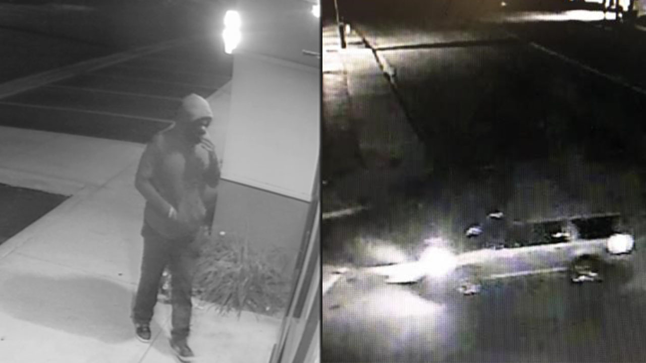 A suspect is shown outside a gun store in Redlands during a burglary alongside surveillance video of the SUV the person left in.