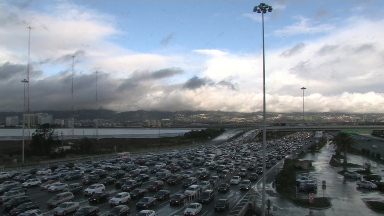 Vehicles backed up in the Bay Bridge toll plaza on Nov. 26, 2016.