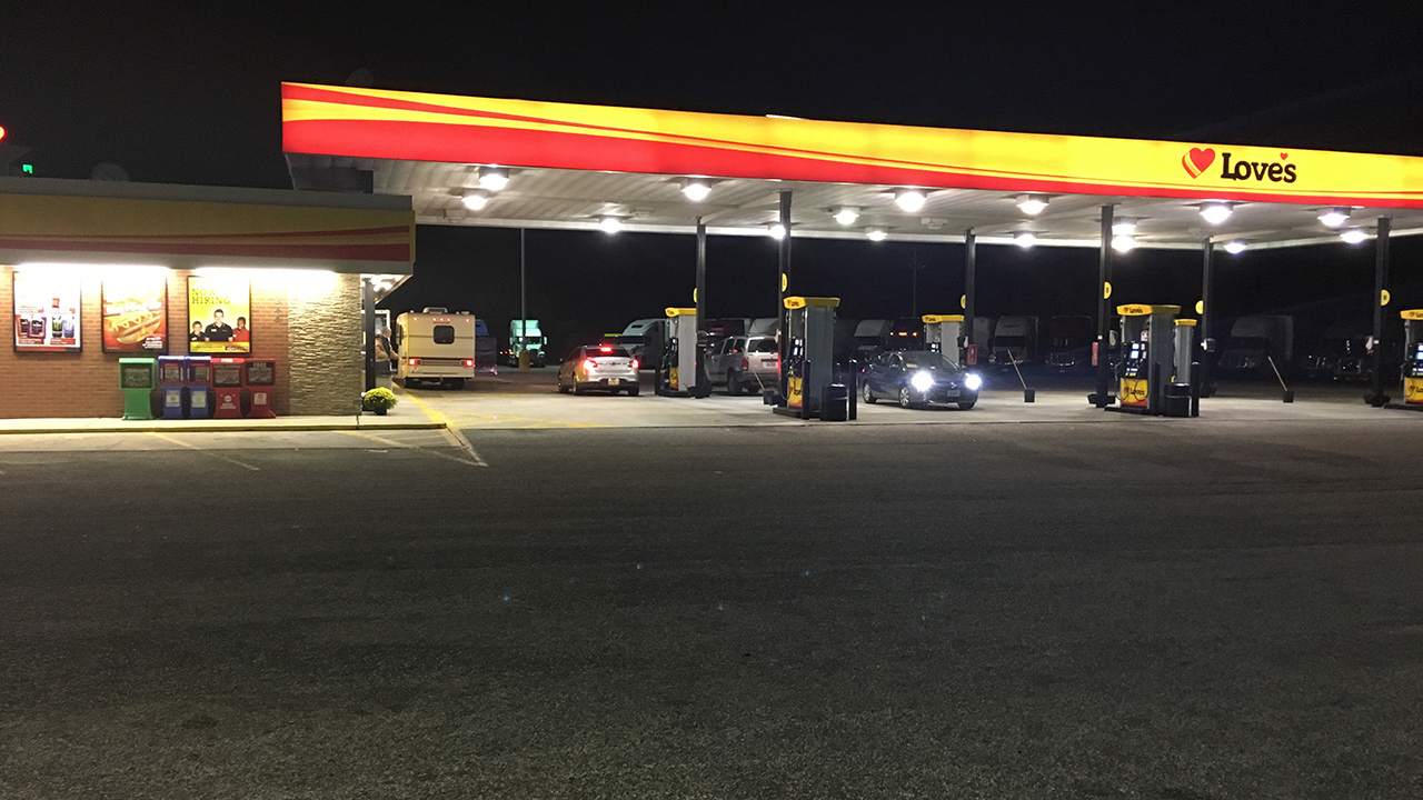 Truck stop where an SUV was reported stolen with a toddler inside