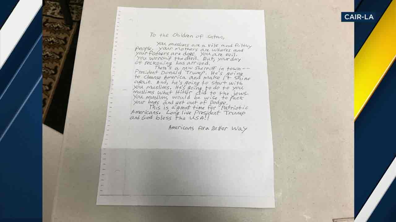 "A hate letter addressed to ""Children of Satan,"" which was sent to three California mosques, including two in Long Beach and Claremont."