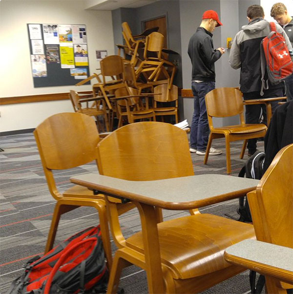 <div class='meta'><div class='origin-logo' data-origin='none'></div><span class='caption-text' data-credit='Harrison Roth/Twitter'>Twitter user Harrison Roth posted this photo with the caption, ''I'm safe in a barricaded room. If you're on campus, get in a room and stay safe.''</span></div>