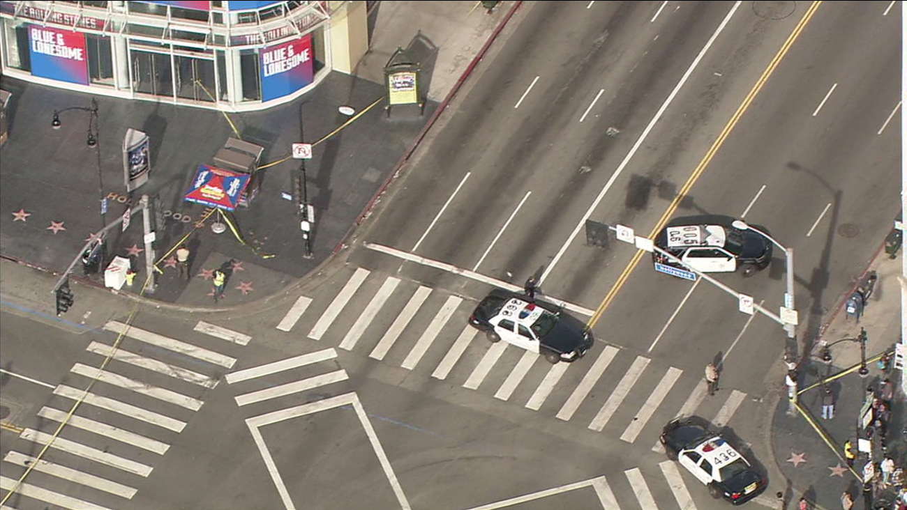 Hollywood Boulevard and Highland Avenue was closed Monday, Nov. 28, 2016, due to a suspicious package investigation.