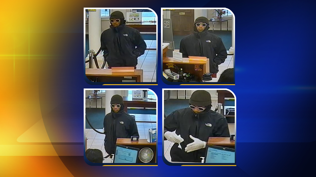 Surveillance photos of a bank robbery suspect at First Citizens Bank on Ramsey Street