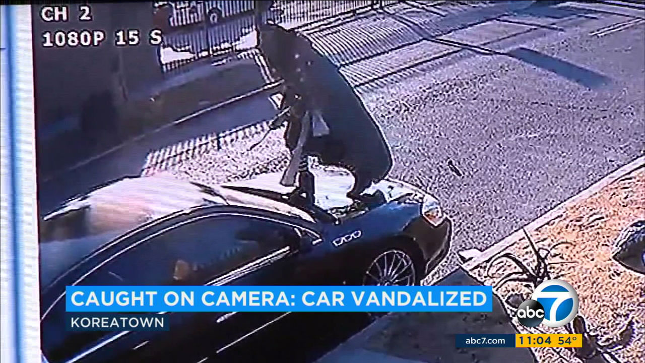 Hours Long Vandalism Of Car In Koreatown Caught On Camera