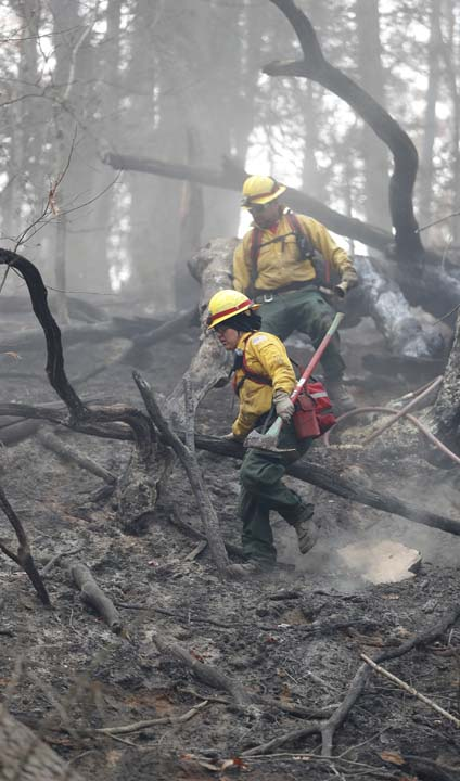 <div class='meta'><div class='origin-logo' data-origin='AP'></div><span class='caption-text' data-credit='AP Photo/John Bazemore'>Firefighters climb down a hill after working to cool hot spots after a wildfire burned a hillside Tuesday, Nov. 15, 2016, in Clayton, Ga.</span></div>
