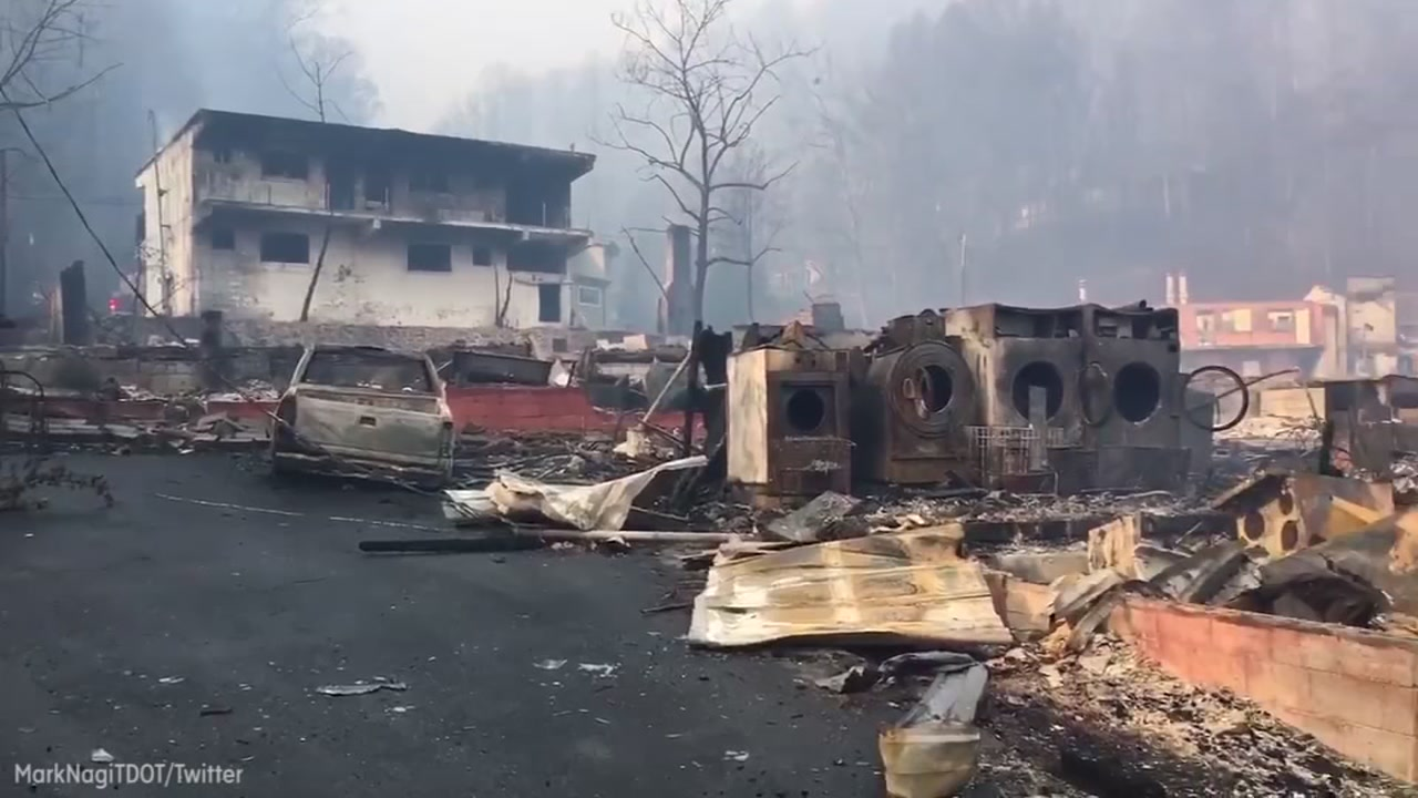Image of damage in Gatlinburg, Tenn. from the Great Smoky Mountain fire.