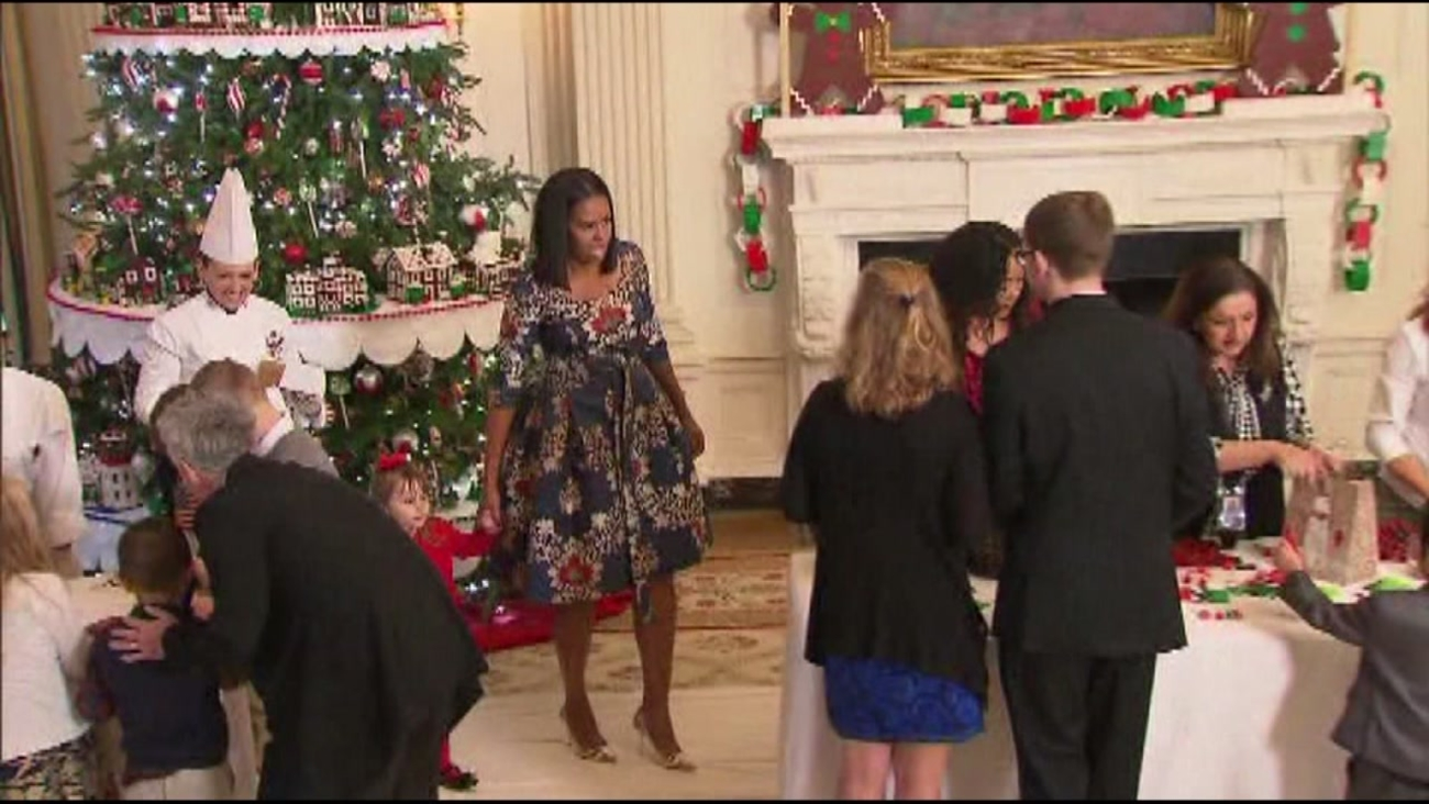 This is an undated image of Michelle Obama at a holiday event at the White House.