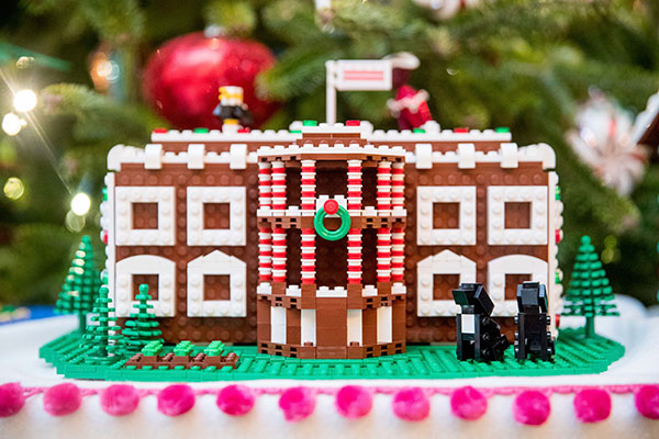 <div class='meta'><div class='origin-logo' data-origin='none'></div><span class='caption-text' data-credit='Andrew Harnik/AP Photo'>The White House, is one of the fifty-six LEGO gingerbread houses, one for each state and territory, displayed in the trees in the State Dinning Room at the White House.</span></div>
