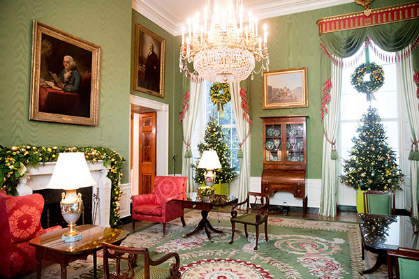 <div class='meta'><div class='origin-logo' data-origin='none'></div><span class='caption-text' data-credit='Andrew Harnik/AP Photo'>The Green Room is decorated at the White House during a preview of the 2016 holiday decor, Tuesday, Nov. 29, 2016, in Washington.</span></div>