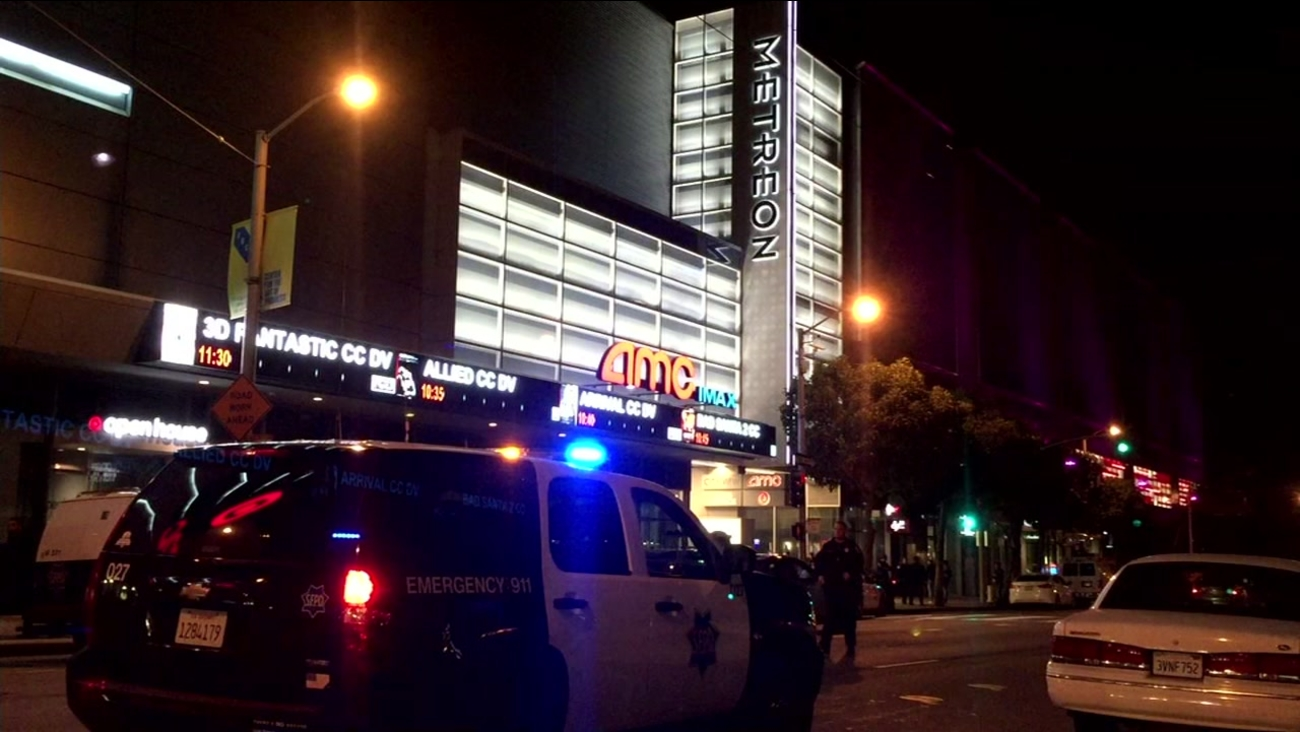San Francisco police detained a man with a handgun at the Metreon Theater on Tuesday, Nov. 29, 2016.