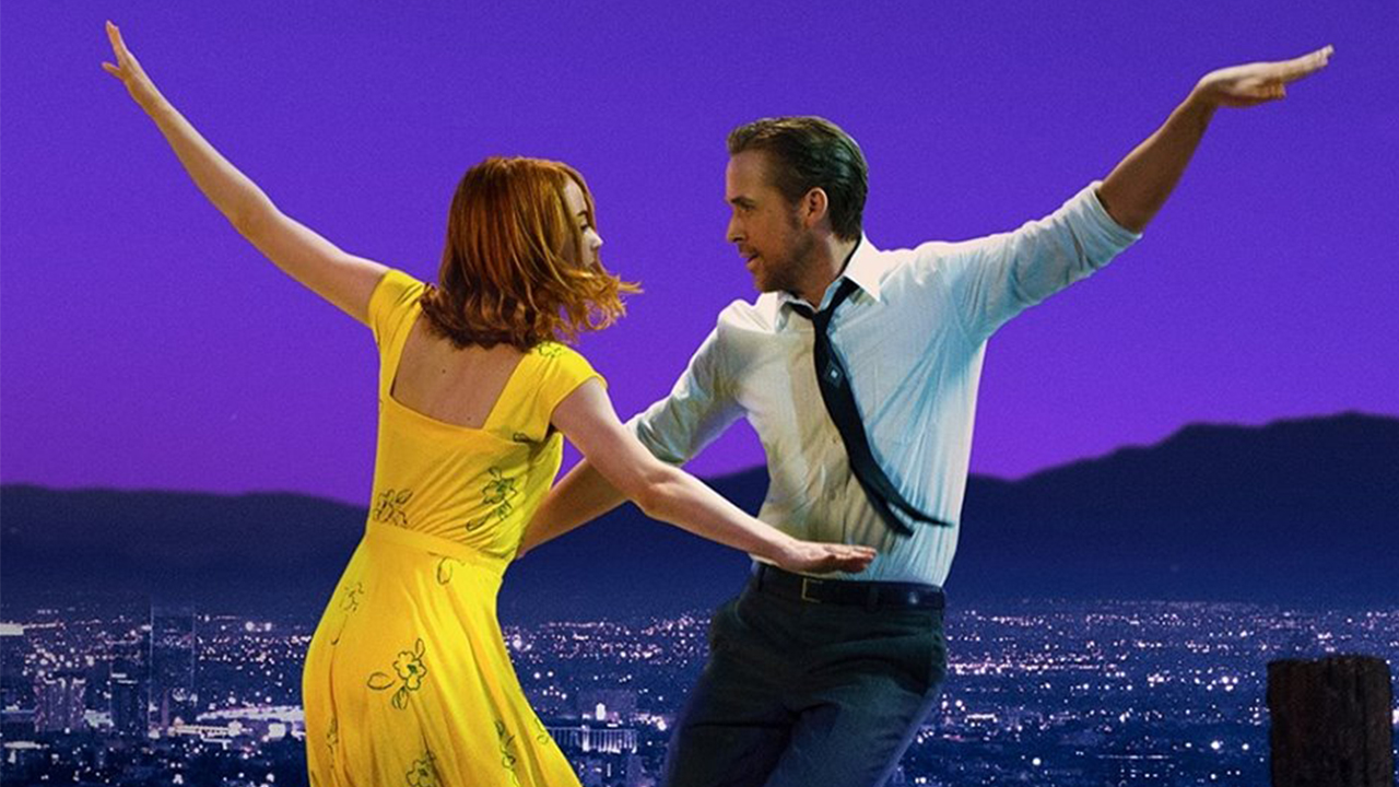 "Image of Ryan Gosling and Emma Stone in ""La La Land."""