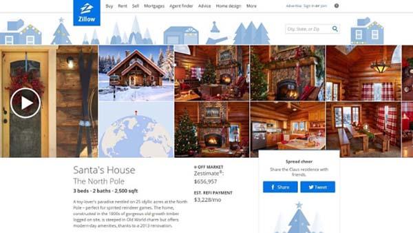 <div class='meta'><div class='origin-logo' data-origin='KTRK'></div><span class='caption-text' data-credit='PRNewsFoto/Zillow'>Santa's North Pole Home on Zillow</span></div>