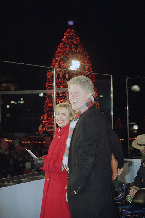 <div class='meta'><div class='origin-logo' data-origin='none'></div><span class='caption-text' data-credit='J. Scott Applewhite/AP Photo'>President Bill Clinton and first lady Hillary Rodham Clinton stand in front of the National Christmas Tree after the first family pushed the button to light the tree, Dec. 9, 1993.</span></div>